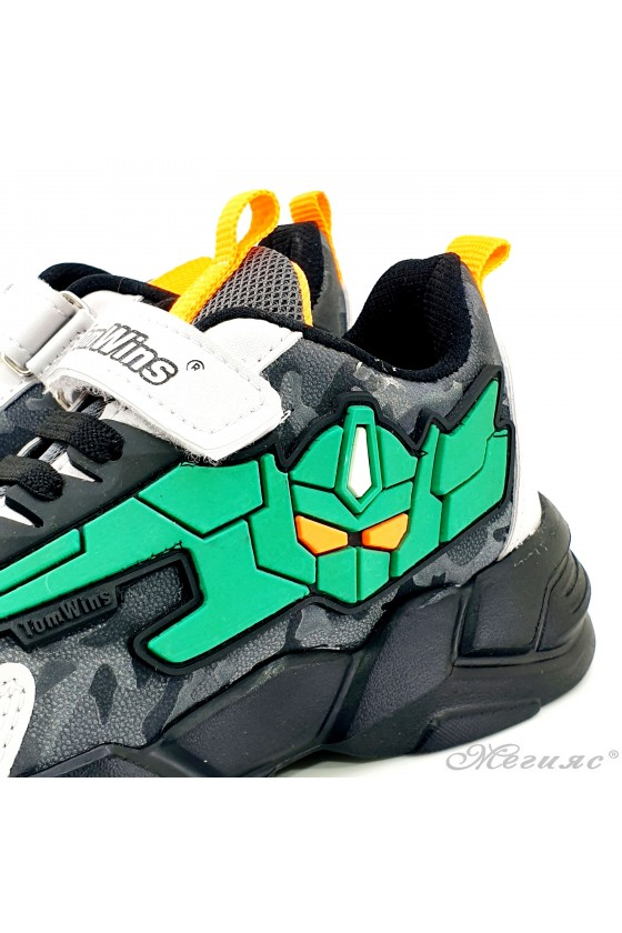 Children's shoes black and green 4457