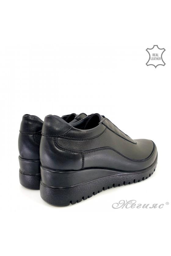 Дамски обувки на платформа естествена кожа черни 1008