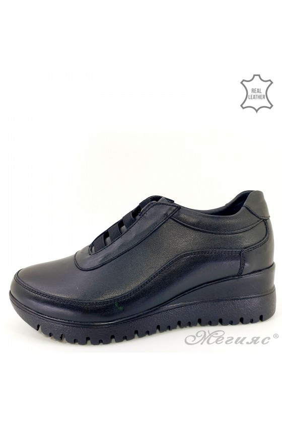 Lady shoes black leather 1008