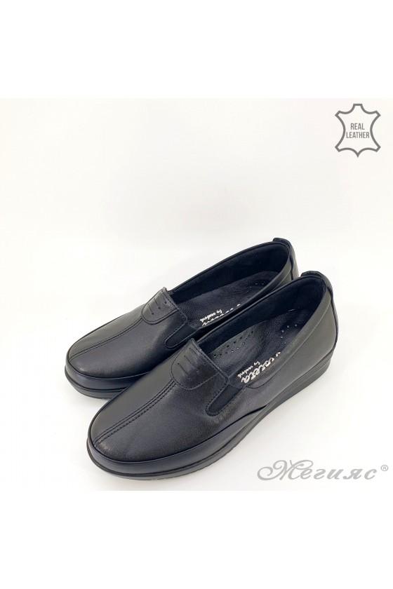 Дамски обувки от естествена кожа черни 014
