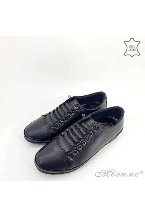 Дамски обувки големи номера от естествена кожа черни 061