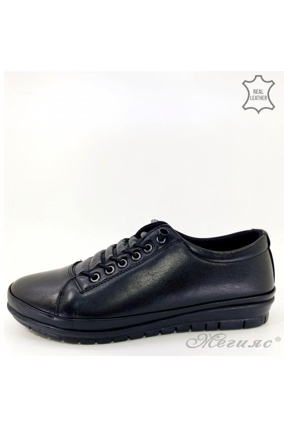 Дамски обувки големи номера от естествена кожа черни