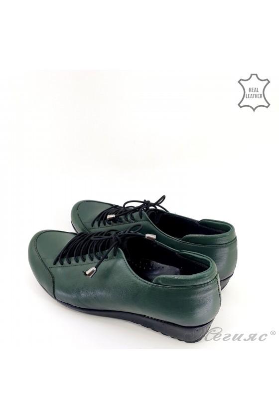 Дамски обувки големи номера от естествена кожа зелени 1004