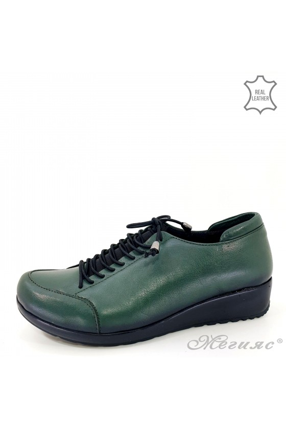 Дамски обувки големи номера от естествена кожа зелени