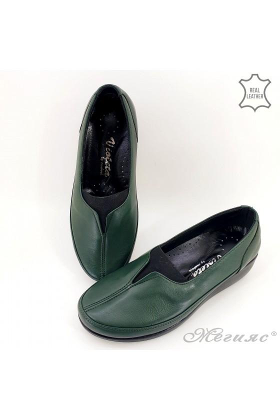 Дамски ортопедични обувки тип мокасини от естествена кожа зелени 1005