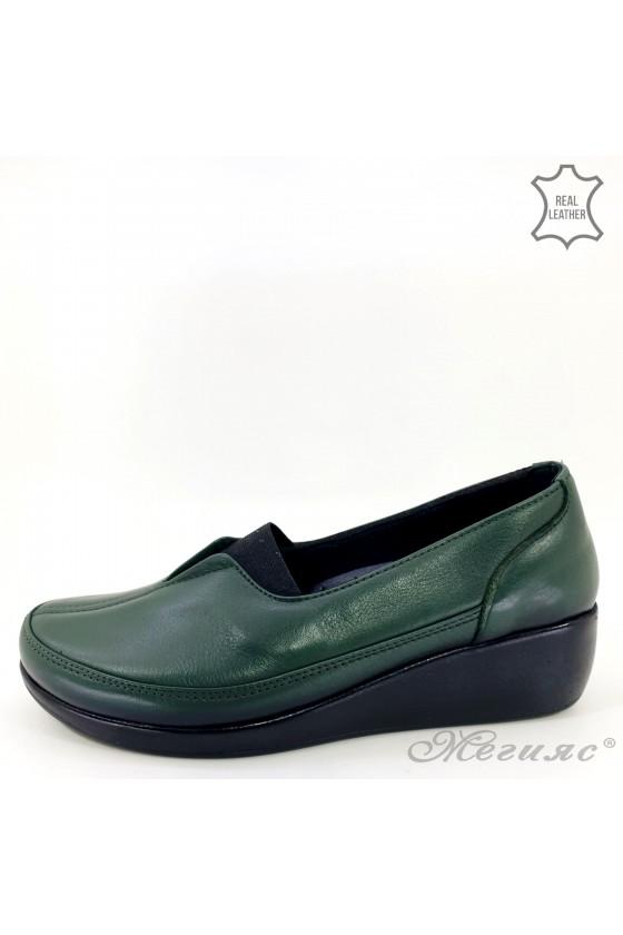 Дамски ортопедични обувки тип мокасини от естествена кожа зелени
