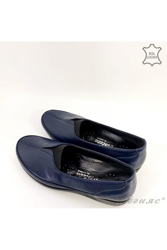 Дамски ортопедични обувки тип мокасини от естествена кожа сини 1005