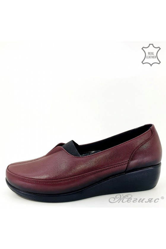 Women shoes wine leather 1005