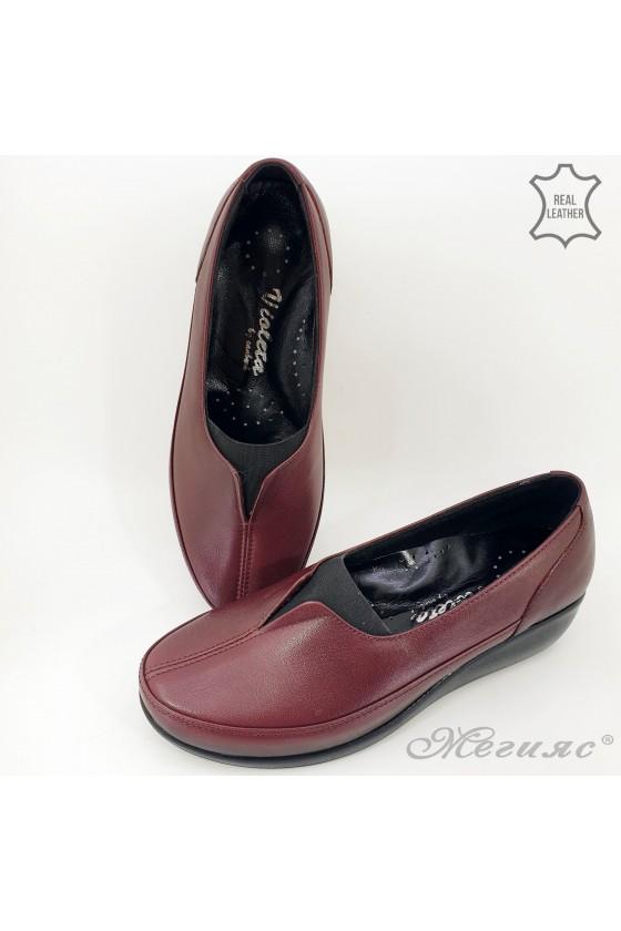 Дамски ортопедични обувки тип мокасини от естествена кожа бордо 1005
