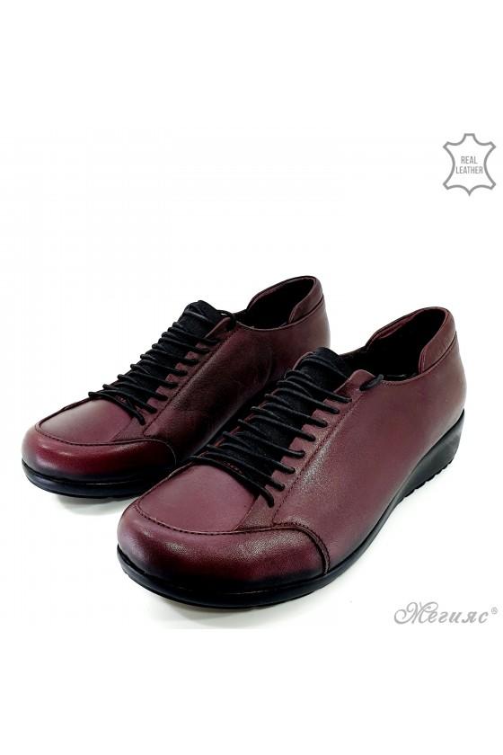 Дамски обувки на платформа от естествена кожа бордо 1004