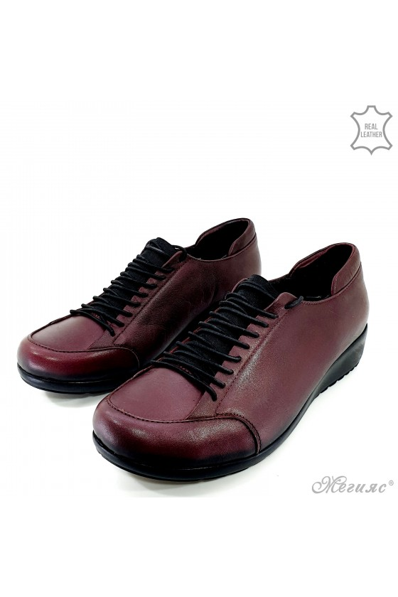 Lady shoes with platform burgundy leather 1004