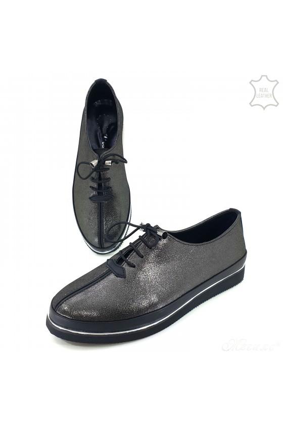 Дамски обувки естествена кожа графит 095