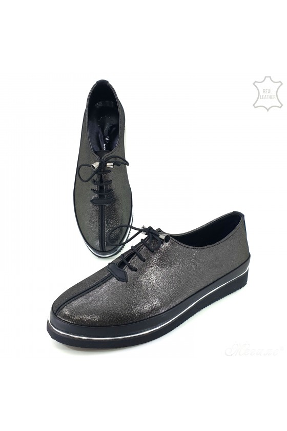 Lady shoes dk silver leather 095