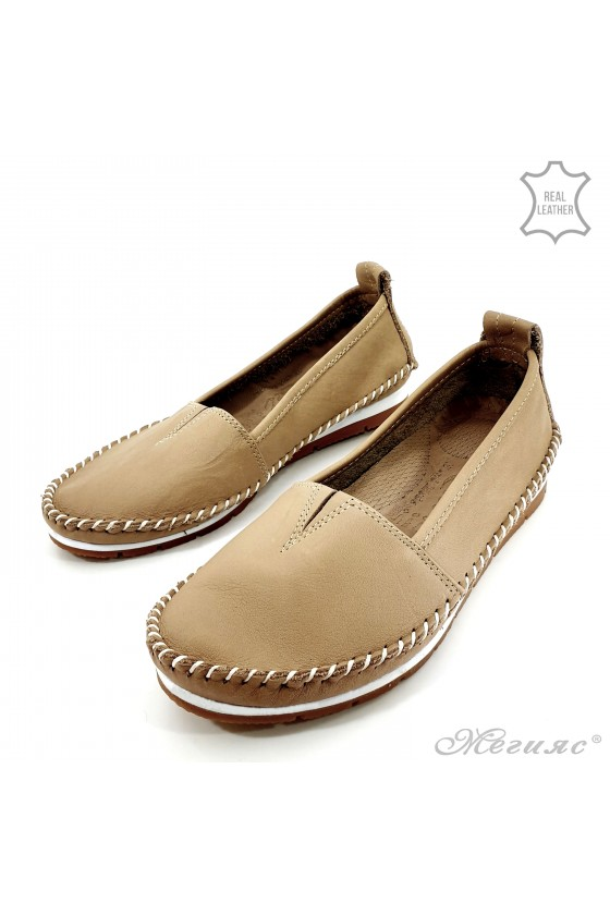 Дамски обувки големи номера естествена кожа CAN бежови 63