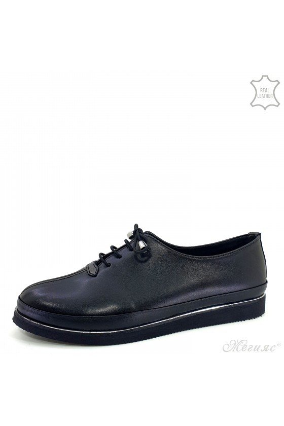 Lady shoes black leather 095