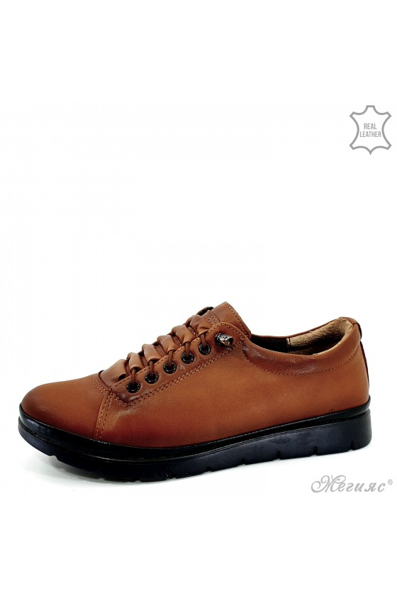 Lady shoes lt brown leather 061