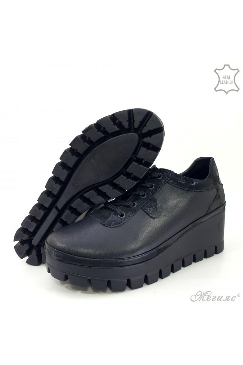 Дамски обувки на платформа естествена кожа