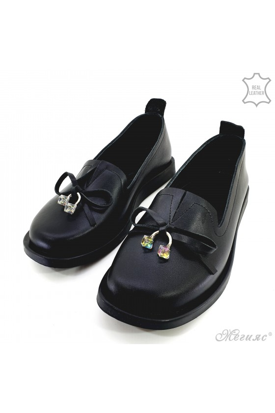 Lady shoes black leather 1631-01