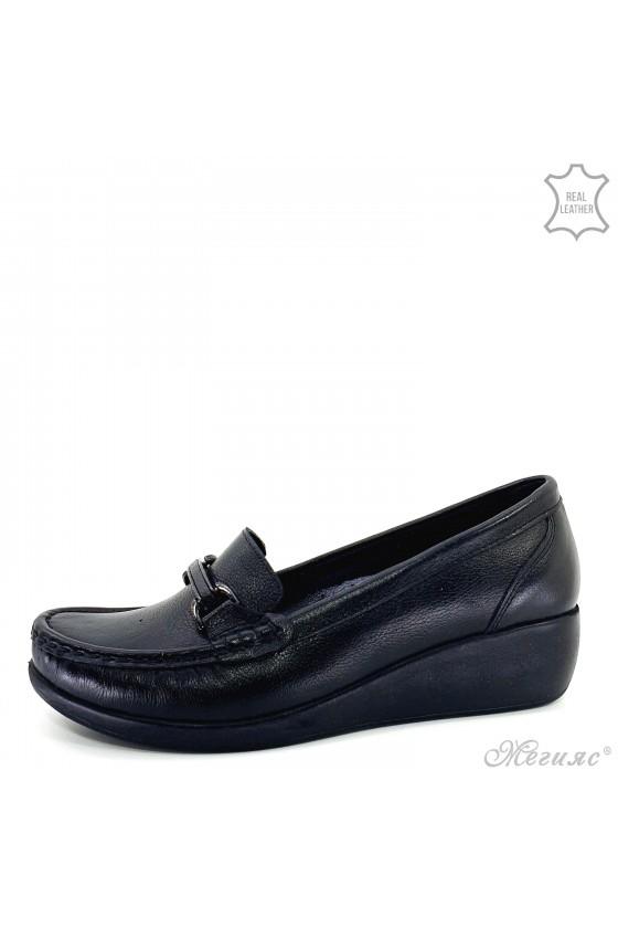 Дамски обувки на платформа естествена кожа CAN черни 2000