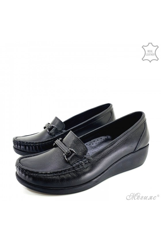 Lady platform shoes black leather 2000