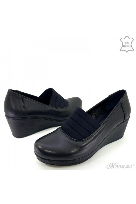 Lady platform shoes black leather 476-1