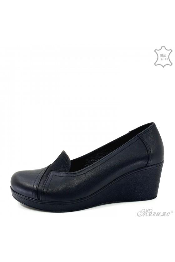 Lady platform shoes black leather 482-1