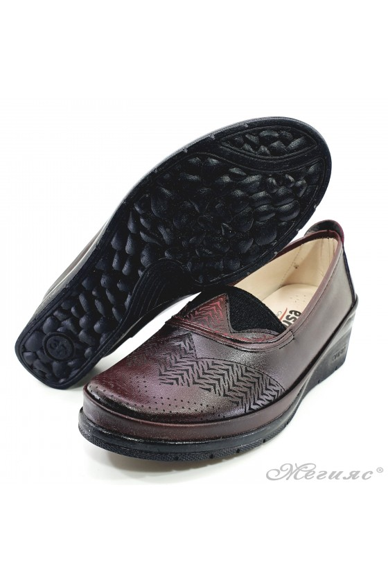 Lady platform shoes burgundy pu 305-9