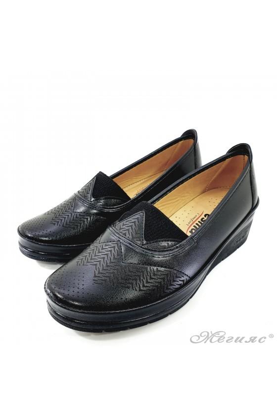 Lady platform shoes black pu 305-10