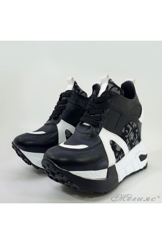 Lady platform sneakers black pu 7528