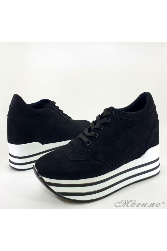 Lady platform sneakers black 2389