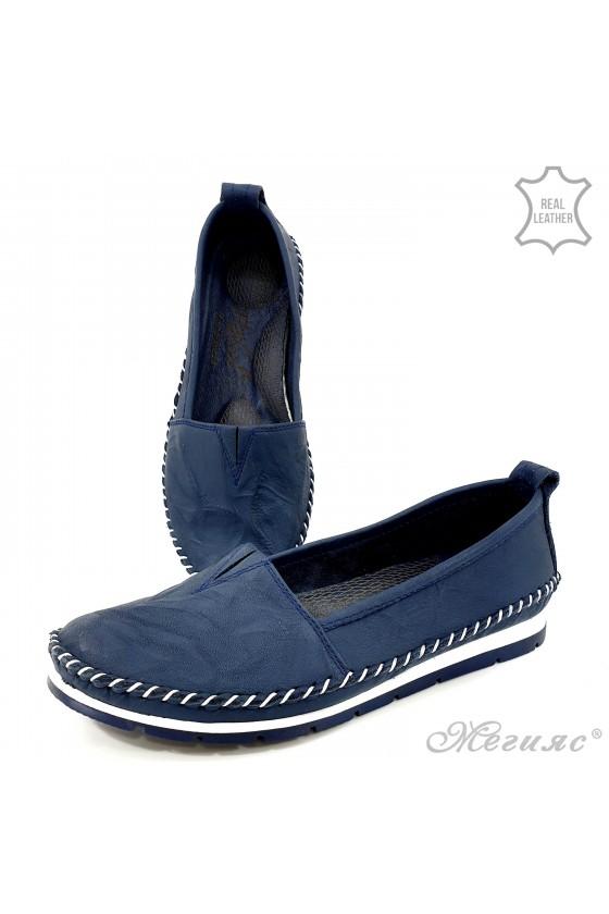 Lady shoes big size blue leather 63