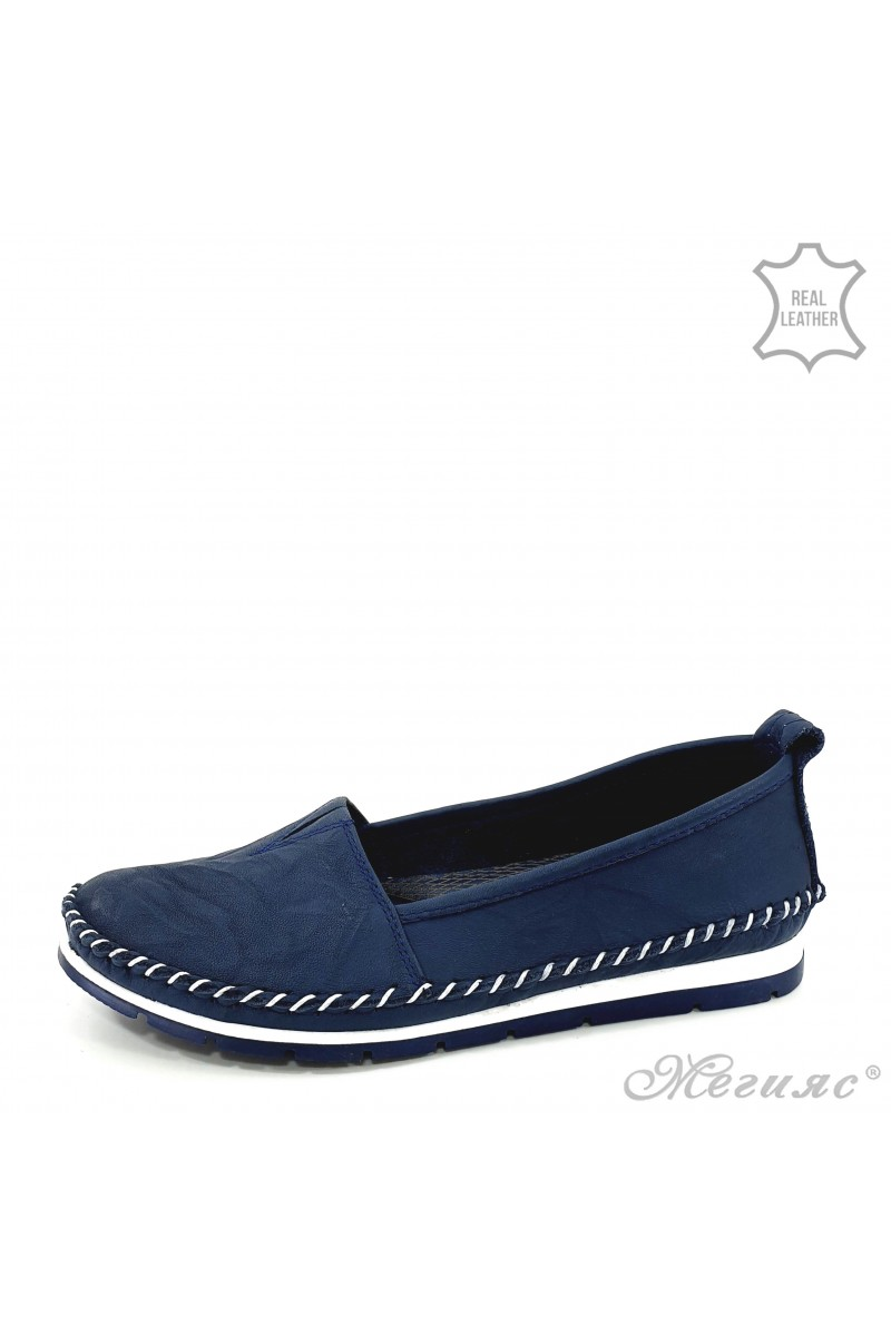 Дамски обувки големи номера от естествена кожа сини 63