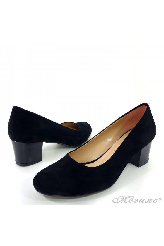 Lady elegant shoes 903  black suede with middle heel