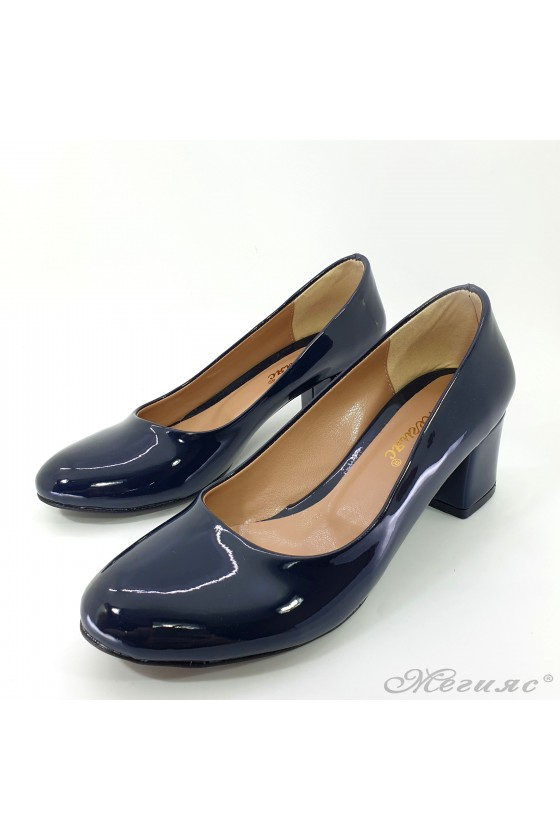 Lady elegant shoes 903 blue patent with middle heel