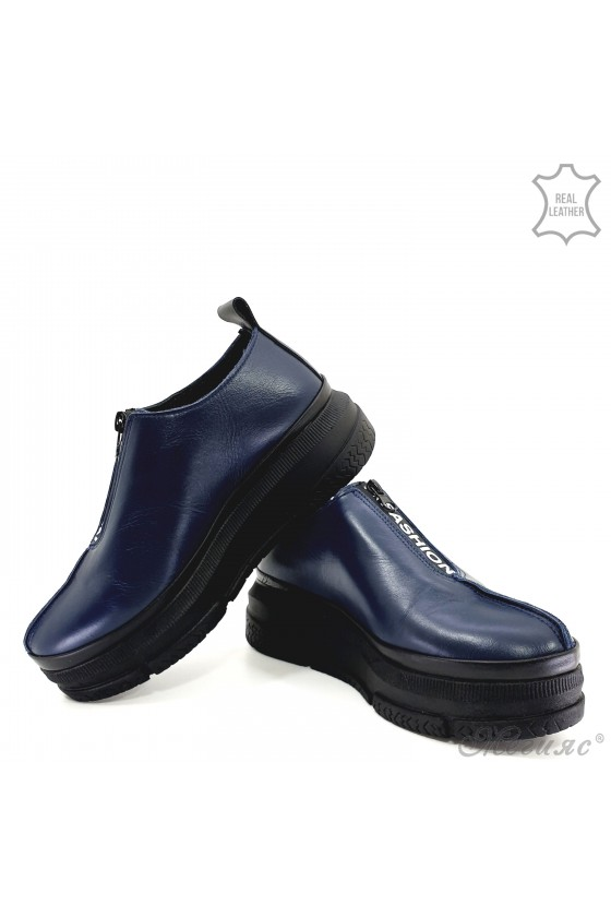 Lady shoes blue leather 1551-02-01