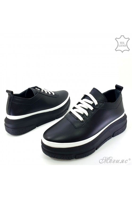 Lady shoes black leather 1552