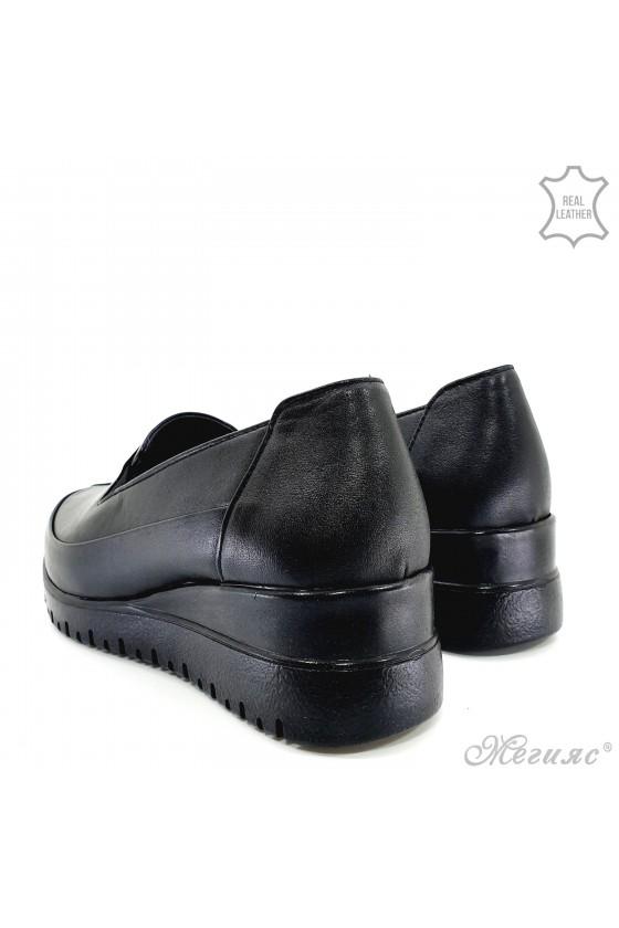 Дамски обувки на платформа естествена кожа черни 1001