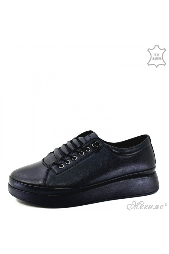 Lady shoes black leather 1131