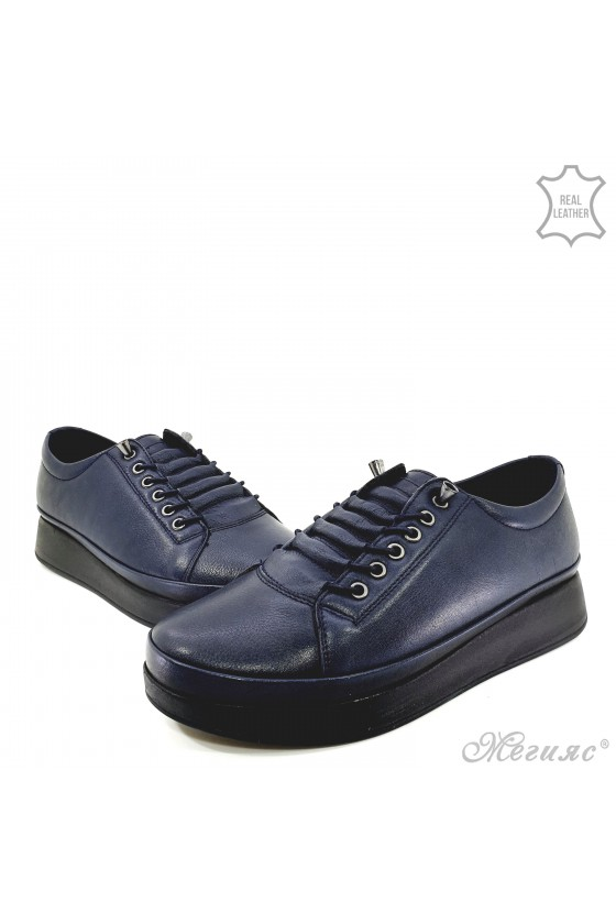 Lady shoes blue leather 1131