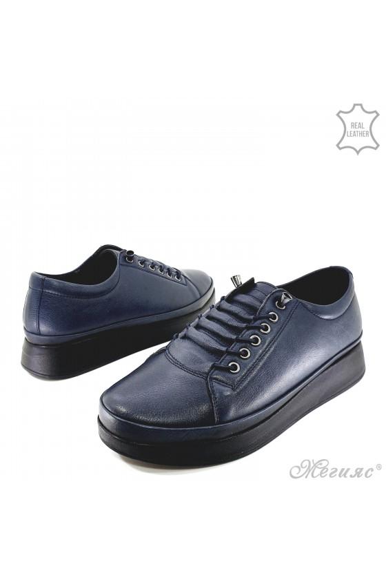Дамски обувки естествена кожа сини 1131