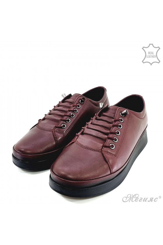 Lady shoes burgundy leather 1131