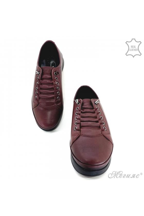 Дамски обувки естествена кожа бордо 1131
