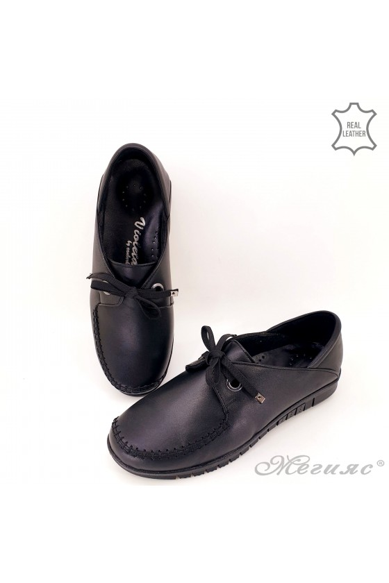 Lady shoes black leather 1221