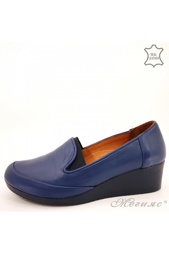 Lady shoes blue leather 414- 51-01