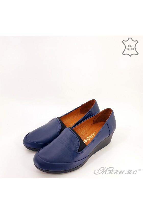 Дамски обувки големи номера естествена кожа сини 414-51-01