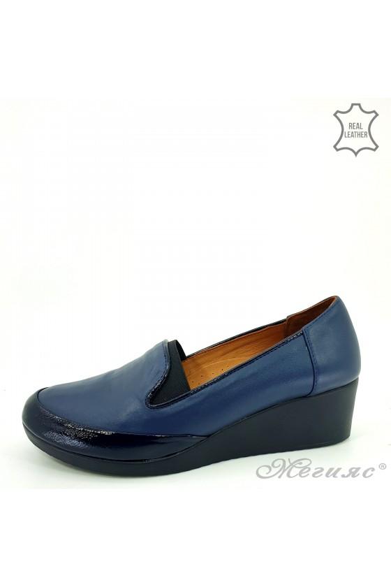 Дамски обувки големи номера естествена кожа+лак сини 414-51-