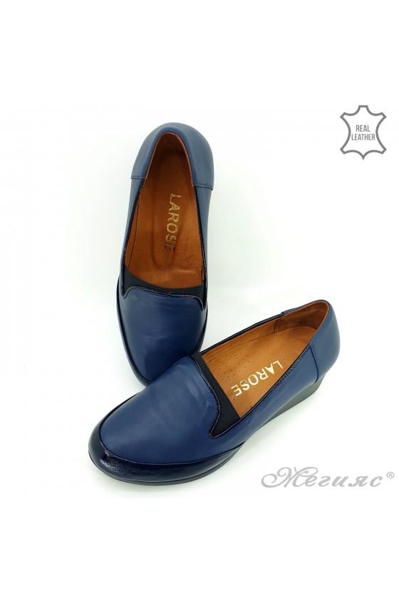 Дамски обувки големи номера естествена кожа+лак сини 414-51-66