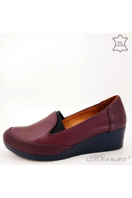 Дамски обувки големи номера естествена кожа бордо 414-51-01
