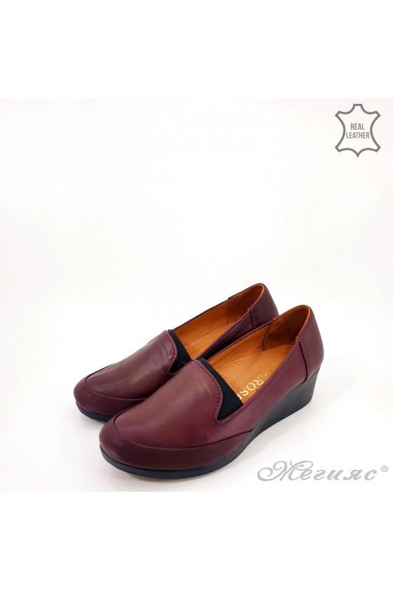 Дамски обувки големи номера естествена кожа бордо 414-52-01