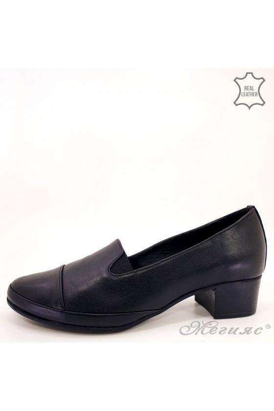 Дамски обувки големи номера естествена кожа черно 2008-01
